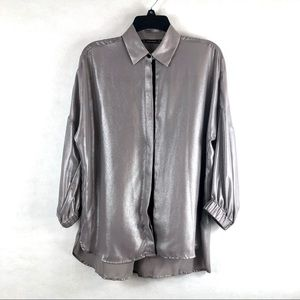 Zara basic small 3/4 dolman sleeve silver